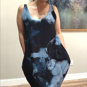$525 DIESEL Silk Abstract bird Dress
